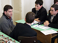 Jeff speaking with Hungarian students